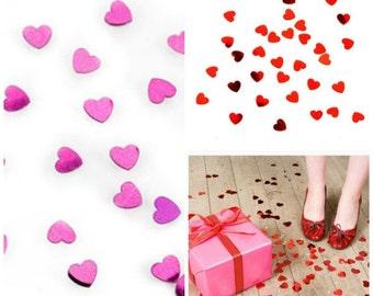 Red Heart Confetti, Hot Pink  Heart Confetti, Shiny Heart confetti, Gift Wrapping, Photo Prop, Blogger Favorite, Scrapbooking