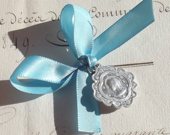 Vintage French Religious Tin pendant Madonna Medal c1930 on Marian Blue satin Ribbon