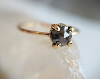 Diamond Engagement ring - engagement ring - diamond and gold - diamond ring - rose-cut diamond - simple ring - dark diamond - claw setting