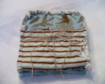 Rag Quilt Burp Towels Baby Boy Burp Cloth Set of 3 Modern Forest Woodland Deer Tribal Arrow Tan Brown Teal Ivory Cotton Chenille