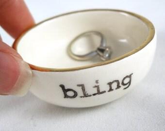 hand stamped BLING ring holder   gold rim   white ceramic ring dish   engagement gift   wedding gift   bridal shower gift   gift for bride