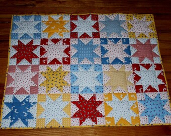 "Baby quilt red white blue yellow stars pieced reversible 39"" x 31"""