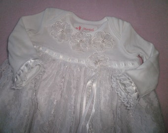 Baby Gown, Lace Dress, Baby Dress, Fancy Christening Gown, Blessing, Baptism Dress, Preemie Gown, White Dress, Photo Prop, Elegant Dress