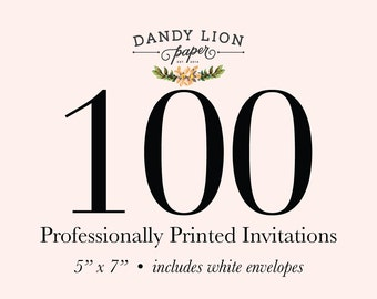 100 Professionally Printed Invitations (Free Shipping)