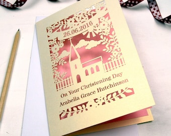 Personalised Papercut Floral Christening Card, sku_floral_christening
