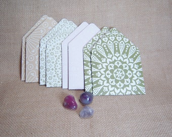Green and Pink Mini Envelopes, Set of Eight Mini Envelopes,  Spring Mini Envelopes, Handmade Mini Envelopes