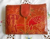 ELEPHANT LEATHER WALLET Embossed Red & Green Animals Palm Trees on Deep Tan, Card Slots Lined Billfold Coin Sections, 1980's India Snaps