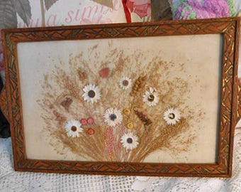 PRESSED White DAISIES Tea TRAY Flowers Globe Amaranth Statice Seed Pod Ethereal Fairy Grass Carved Wood Art Deco Frame Handles Glass 12 x 19