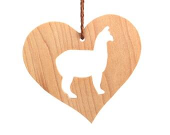 Alpaca Ornament Wood Heart Shaped Pet Ornament Christmas Alpaca Decoration Country Farm Animal Ornament Christmas Pet Decoration Maple