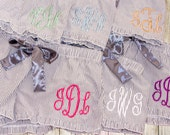 Personalized Ruffle Pajama Shorts - Gray Pink Blue Purple - Monogrammed Pajamas - Seersucker Boxers - Bridesmaid Gift - Bridal Party Gift