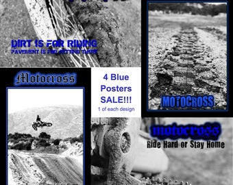 SALE! 4 Motocross Photography Posters- Assorted - Accent Colors