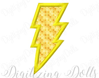 Lightning Bolt Applique Machine Embroidery Design 3x3 4x4 5x7 6x10 INSTANT DOWNLOAD