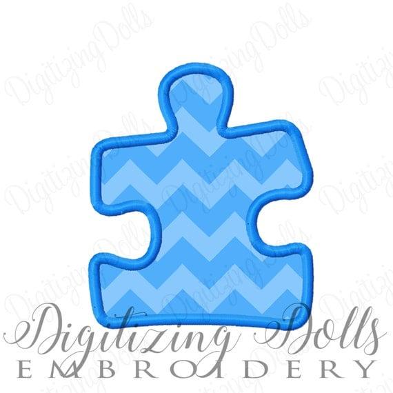 Puzzle Piece Applique Machine Embroidery Design 4x4 5x7 6x10 autism awareness INSTANT DOWNLOAD
