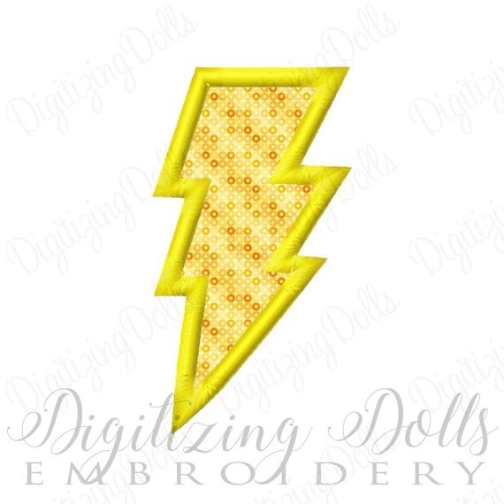 Lightning Bolt Applique Machine Embroidery Design 3x3 4x4 5x7 6x10 INSTANT DOWNLOAD