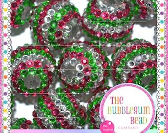 HOT PINK GREEN White Raspberry Beads 22mm Qty 5 Berry Beads Bumpy Chunky Bead Necklace Round Bead Rhinestone Bead Bumpy Bead Gumball Bead