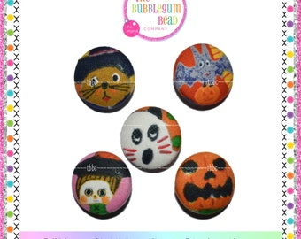 """7/8"""" HALLOWEEN FACES Kawaii Covered Button, Sewing Notion, Buttons, Bento Theme Buttons, Whimsical Buttons, Fabric Covered Shank Button"""