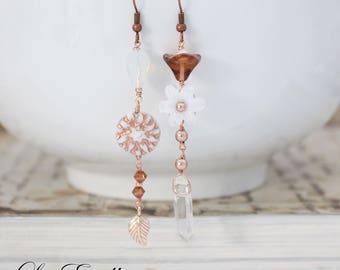 Rose Gold earrings white Floral earrings Mismatched Asymmetrical earrings Dreamy earrings Garden earrings Fairy earrings - Icicles