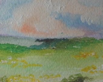 Original ACEO Artists Trading Card  Watercolor Painting Landscape Sunset over the Prairie
