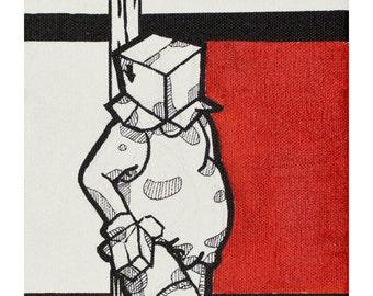 BOXCHUB SERIES - Original Mixed Media Painting - Ink, Acrylic on Canvas - Contemporary Minimal Figurative