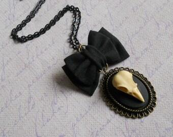 Bird skull cameo necklace small black bow Gothic lolita