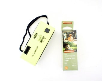 Neon Yellow Concord 118 110 Camera w/ Case +  New Color Film