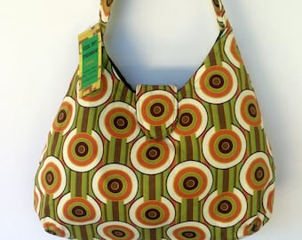Ladies Handbag - Retro Green Geometric Print - cotton, handmade, bag, purse
