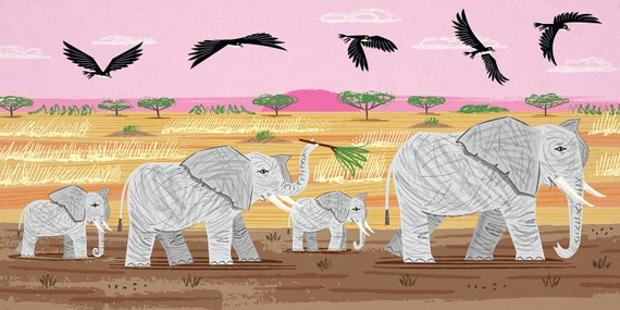 Elephants and Hawks - Nature / Wildlife - Childrens Art - Animal Art -  Kids Art - Limited Edition Art Poster Print by Oliver Lake