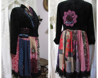 Black Patchwork Coat, large thick corduroy jacket coat, ooak bohemian hippie gypsy coat handmade upcycled country festival LARGE