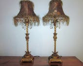 Vintage Buffet Lamps, Set of 2, Antique Gold Finish, Fancy Shades with Fringe and Beads