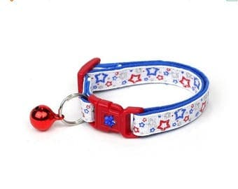 ON SALE Fourth of July Cat Collar - Stars Shining Bright - Red White and Blue - American Flag - Kitten or Large Size