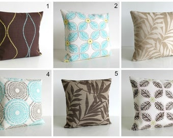 Exotic Pillow Cover, Brown, Aqua, Cushion Cover, Pillow Sham, Accent Pillows - Aqua and Chocolate Collection