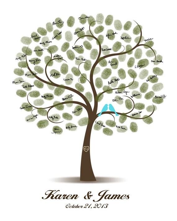 Wedding Tree Guest Book Love Birds, Guest Book Alternative, Fingerprint Signature Tree - Custom color, size, text - DIGITAL PRINTABLE JPEG