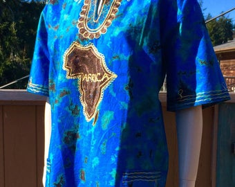 70s Vintage PEACOCK Blue Embroidered Ethnic AFRICA Dashiki Top L XL