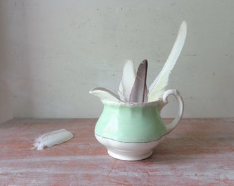 Rustic Vintage Grindley Mint Green and Cream Jug - Vase/Table Decor/Props