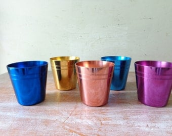 VIntage Set of 5 Anodized Aluminium Cups with Holder and Bottle Opener