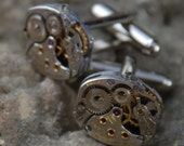 Reserved Listing for CC Beautiful Pair of 17 Jewels Steampunk Longines Watch Movement Cuff links CL 60