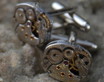 Beautiful Pair of 17 Jewels Steampunk Longines Watch Movement Cuff links CL 60