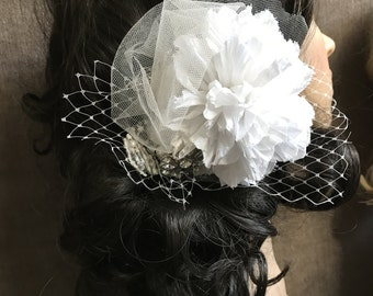 Bridal Hair Accessory // White Flower Clip