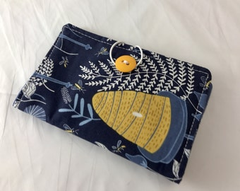 Blue Tea Bag Case - Travel Tea Bag Holder - Tea Wallet- Tea Bag Wallet- Tea Holder - Tea Bag Organizer - Tea Bag Cozy  -  Honey Bee in Navy