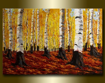 Birch Tree Forest Landscape Painting Oil on Canvas Textured Palette Knife Modern Original Art Seasons 24X36