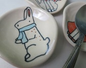 Bunny Spoon Rest Animal Themed Ceramics Rabbit Pottery Spoon Rest for Coffee Spoon Cute Pottery
