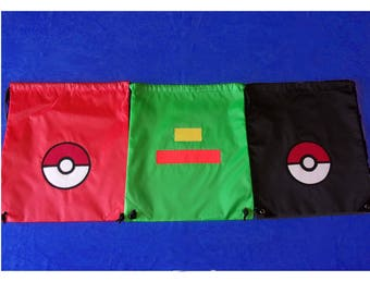 Pokemon Ash Trainer Drawstring Backpack Choose your style  Pokeball Green