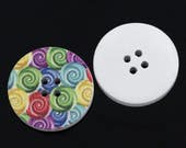 6 piece large wood buttons, multicolor