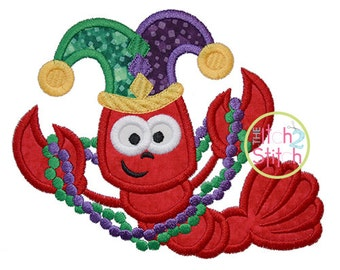 Crawfish Mardi Gras Applique Design For Machine Embroidery,  INSTANT DOWNLOAD now available