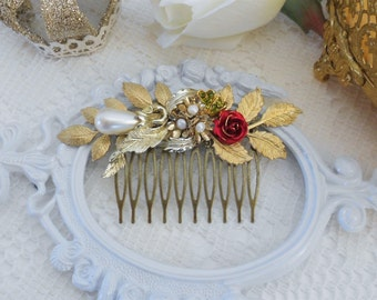 Jeweled Hair Comb, Gold Leaf Hair Comb, Red Rose Comb, Pearl Hair Comb, Floral Hair Comb, Assemblage Jewelry, Bridal Hair Comb, Woodland