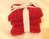 Handmade Crochet Dish Cloth, Set of Three, Washcloth, Spa Washcloth, 100% Cotton, Everyday Use, Eco-Friendly In red