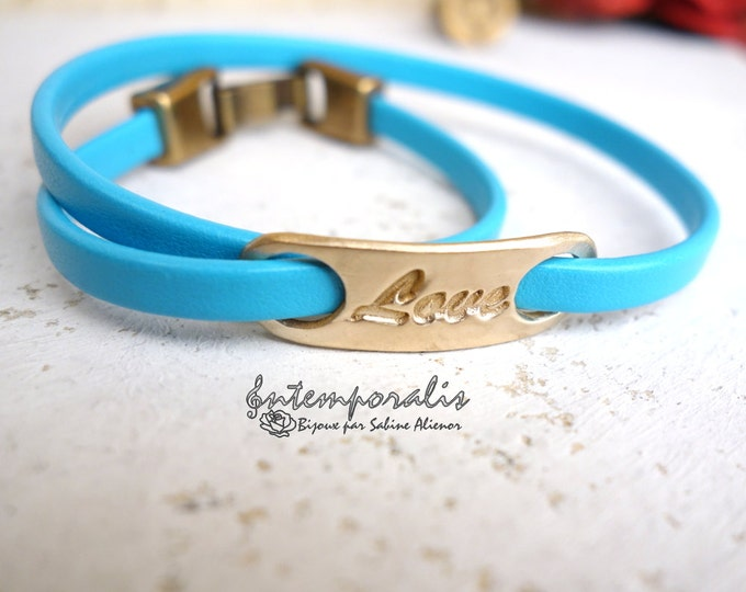 Bronze and turquoise leather bracelet, Love, OOAK, SABR29