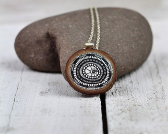 Hand drawn wooden pendant necklace black on metallic white no4