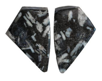 CHINESE WRITING ROCK (33621)  Matched Pair (2 Gems) Hard to Find! Cab/Cabochon