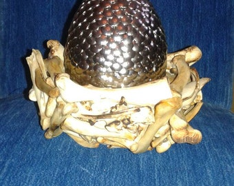 Silver Dragon Egg and charred bone Nest